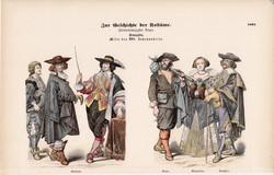 Viselettörténet (49), litográfia 1885, öltözet, ruha, divat, francia, történelem, nemes, paraszt