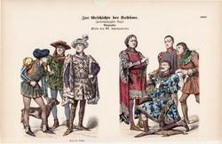 Viselettörténet (44), litográfia 1885, öltözet, ruha, divat, német, francia, történelem, XV. század