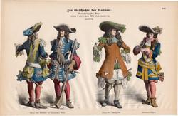 Viselettörténet (12), litográfia 1880, öltözet, ruha, uniformis, német, francia, történelem, katona