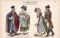 Viselettörténet (21), litográfia 1885, öltözet, ruha, divat, német, francia, történelem, 1793, XVIII