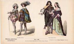Viselettörténet (54), litográfia 1880, öltözet, ruha, divat, német, francia, történelem, katona