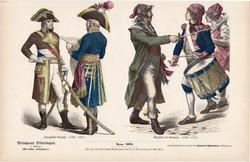 Viselettörténet (22), litográfia 1885, öltözet, ruha, uniformis, német, francia, történelem, katona