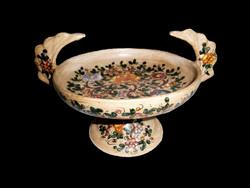 Különleges és nagyon ritka, jelzett kerámia kínáló tál, virág mintás talpas asztalközép