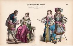 Viselettörténet (60), litográfia 1885, öltözet, ruha, divat, német, francia, történelem, XVII. sz.