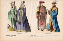 Viselettörténet (53), litográfia 1880, öltözet, ruha, divat, német, francia, történelem, nemes