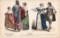 Viselettörténet (36), litográfia 1880, öltözet, ruha, divat, német, francia, történelem, nemes, régi