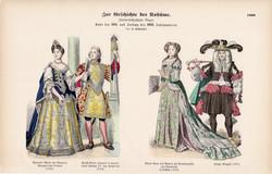 Viselettörténet (17), litográfia 1885, öltözet, ruha, divat, német, francia, történelem, XVII, XVIII