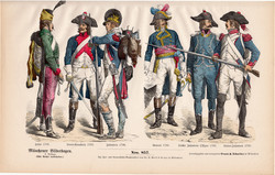 Viselettörténet (33), litográfia 1880, öltözet, ruha, uniformis, német, francia, történelem, katona
