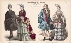 Viselettörténet (62), litográfia 1885, öltözet, ruha, divat, német, francia, XIV. Lajos, történelem