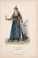 Viselettörténet (30), litográfia 1880, öltözet, ruha, divat, német, francia hölgy, XV. század, régi