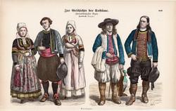 Viselettörténet (23), litográfia 1885, öltözet, ruha, divat, német, francia, történelem, Bretagne
