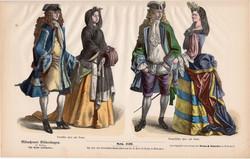 Viselettörténet (39), litográfia 1880, öltözet, ruha, divat, német, francia, történelem, nemes