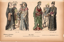 Viselettörténet (19), litográfia 1885, öltözet, ruha, divat, német, francia, történelem, XV. század