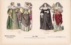 Viselettörténet (20), litográfia 1885, öltözet, ruha, divat, német, francia, történelem, nemes