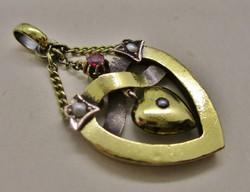 Különleges antik arany  medál, rubin és gyöngyök nagyon szép!