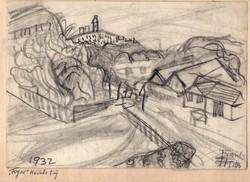 """Frank Frigyes (1890-1976): """"Fogas"""" körüli táj 1932."""