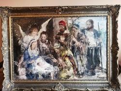 Náray Aurél - Jézus születése ,90x60cm