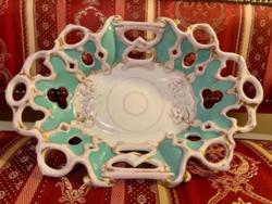 Nagy méretű Christian Fischer Fischer & Mieg biedermeier kínáló tál tányér kosár