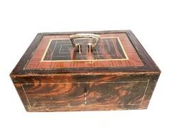 Antik vas páncélkazetta, pénz kazetta, nagyon nehéz, 5,5 kg.