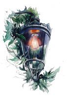 Lámpás, akvarell, 28x38