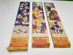 Retro osztrák karácsonyi csillagszóró csomagolás mesemintás 1980 körül 3db