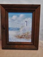 Ron Thomson (1969. Rota, Sp.-) Tengerpart világítótoronnyal, sirályokkal Florida, 1997.