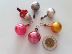 Régi üveg karácsonyfadísz miniatűr gömb gomba 6 db