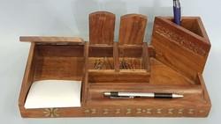 Gyönyörű szép régi ceruza, tolltartó íróasztalra réz intarzia berakással fafaragással