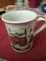 Porcelán  bögre Karácsonyi jelenetekkel