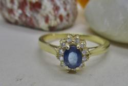 Nagyon elegáns antik zafír és gyémánt margaréta arany gyűrű