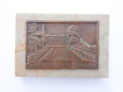 Ludvig E. Budapest - Szent-Margitszigeti Szanatórium plakett, márvány talpon