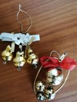 Régi karácsonyfadísz fém- üveg 2 db!