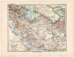Perzsia térkép 1892, eredeti, Meyers atlasz, német nyelvű, Ázsia, kelet, Irak, Irán, Afganisztán