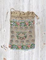 Antik virág mintás sok gyöngyös, csipkés női alkalmi táska