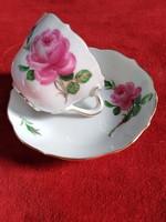 Meisseni kávés csésze aljával, pünkösdi rózsás dekorral, aranyozássa XX.szd eleje