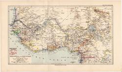 Felső Guinea és Nyugat - Szudán térkép 1892, eredeti, Meyers atlasz, német nyelvű, Afrika