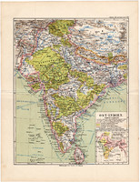 Kelet - India térkép 1892, eredeti, Meyers atlasz, német nyelvű, Ázsia, Nepál, Himalája, Tibet