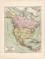 Észak - Amerika térkép 1892, eredeti, Meyers atlasz, német nyelvű, Egyesült Államok, Kanada, Mexikó