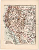 Egyesült Államok térkép 1892, eredeti, Meyers atlasz, német nyelvű, Amerika, USA, nyugati part