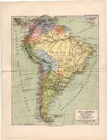 Dél - Amerika térkép 1892, eredeti, Meyers atlasz, német nyelvű, politikai, ország, Brazília, Chile