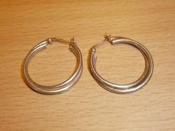 Jelzett ezüst karika fülbevaló 3 cm átmérő