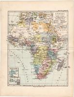 Afrika politikai térkép 1892, eredeti, Meyers atlasz, német nyelvű, Szahara, Nílus, Egyiptom, Angola