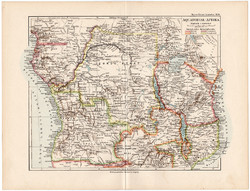 Egyenlítői - Afrika térkép 1892, eredeti, Meyers atlasz, német nyelvű, közép, Kongó, Kamerun