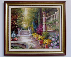 AKCIÓ MÉG 4 NAPIG Bihari Ágnes Római kert 50x60cm + keret olaj-vászon festmény