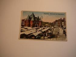 Forgalmas út piaccal és villamossal -AMSTERDAM 1920