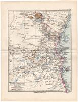 Német Kelet - Afrika térkép 1892, eredeti, Meyers atlasz, német nyelvű, Khutu, Usaramo, Ukami
