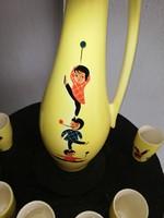 Kézzel festett retro sárga gránit likőrös kiöntő készlet nagy palackkal