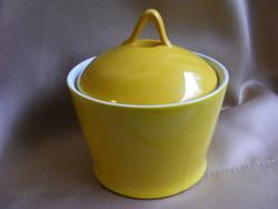 Retro sárga Hollóházi cukortartó