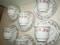 Fehér virágos porcelán garnitúra kávés készlet 6+6 db. hibátlan