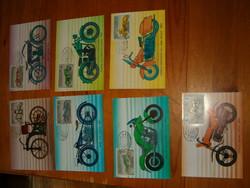 7 darab képeslap 100 éves a motorkerékpár bélyeg sor 1985 magyar bélyegek szép darabok KIÁRUSÍTÁS